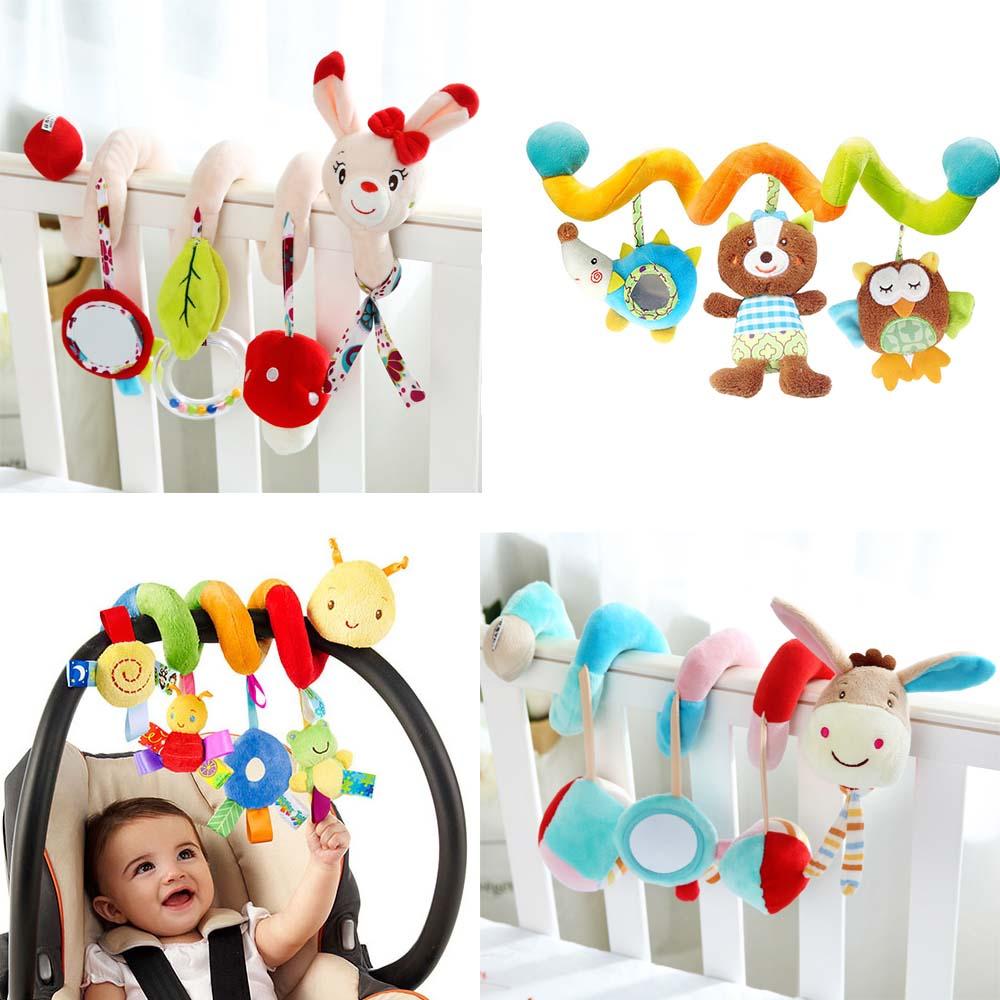 Прекрасный мультфильм животных детские игрушки для новорожденных развивающие звуковые красочные плюшевые погремушка Mobiles Игрушечные лошадки младенческой Дети кровать коляска подвесные игрушки