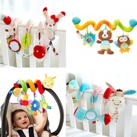 Lovely Cartoon Animal Baby Toy Newborn Educational Sound Colorful Plush Rattle Mobiles Toys Infant Kids Bed