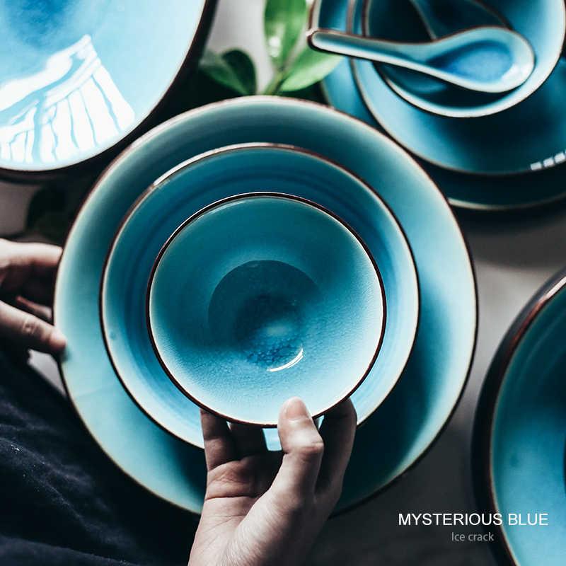 Ghiaccio incrinato smalto set da tavola per uso domestico piatto di ceramica ciotola di riso piatto ciotola di minestra cucchiaio stile Giapponese piatto piatto forno a microonde sicuro