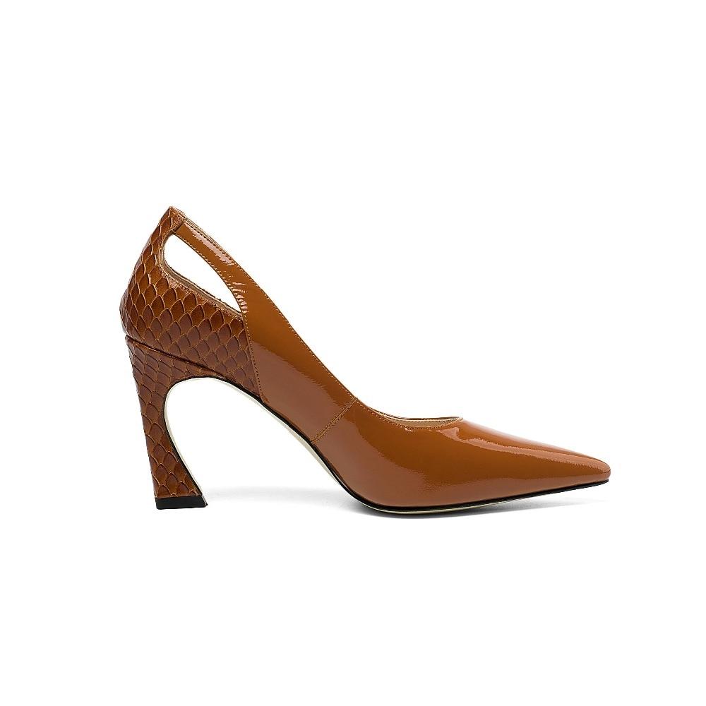 chocolat Femmes Véritable D'origine En L04 Sur De Noir Robe Talons Hauts Cuir Pompes Taille Pot Grande Couverts Designer Slip Chaussures Pointu Bout Travail Krazing g5vqFwxO1