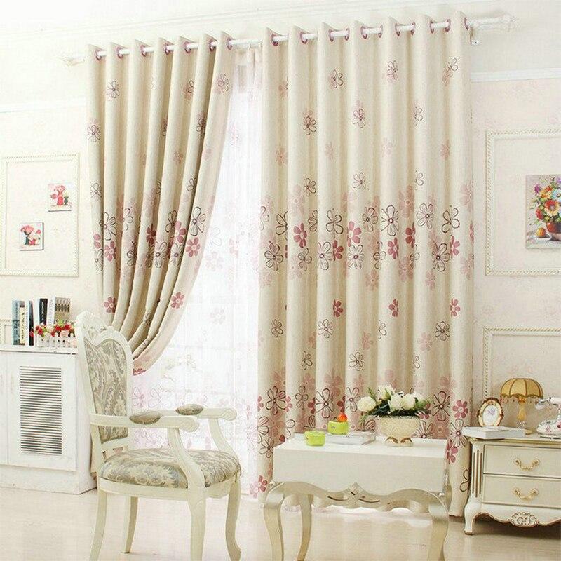 Ventana rústica cortinas para sala de estar/cortinas opacas para dormitorio tratamiento de ventanas/cortinas decoración del hogar tulipán/hojas/patrón Floral