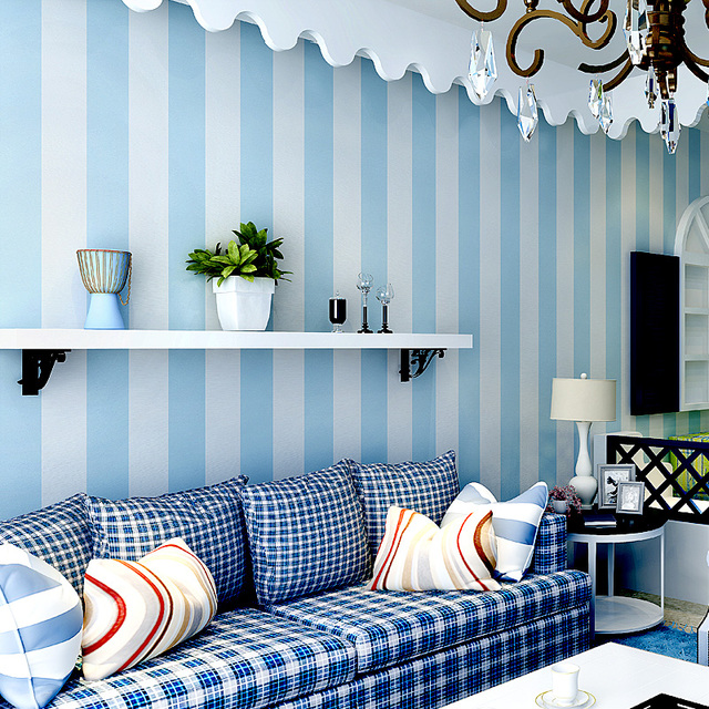 Modern Bedroom Blue And White Vertical Stripe Wallpapers Non Woven