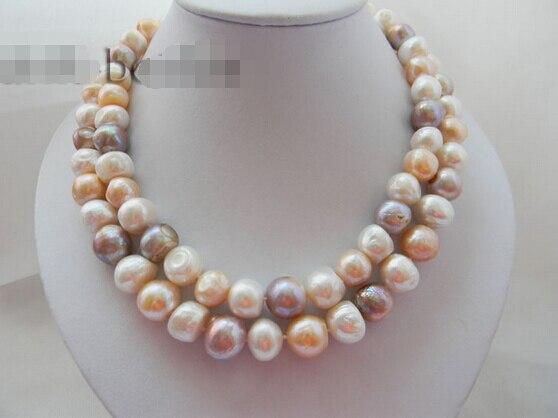 4389f538d879 Libre 2 filamentos 14mm barroco blanco rosa lavanda perla de agua dulce  Mabe clasp collar AAA