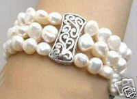 hot sale FREE SHIPPING *****NATURAL SOUTH SEA 3 STRAND PEARL BRACELET WHITE AA12345