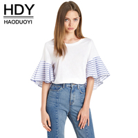 HDY Haoduoyi Stripe Patchwork Fashion T Shirt Women O Neck Rufle Sleeve Loose Casual Tops Brief