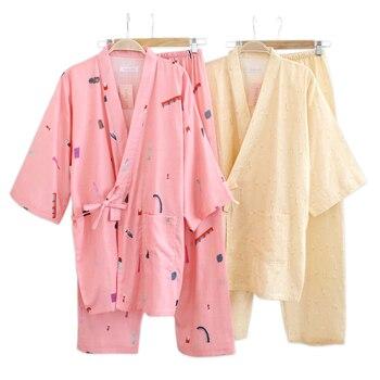 Primavera 100% gasa de algodón japonés kimono pijamas mujeres de manga larga de pescado fresco Impresión de dibujos animados mujeres pijamas Rosa albornoces