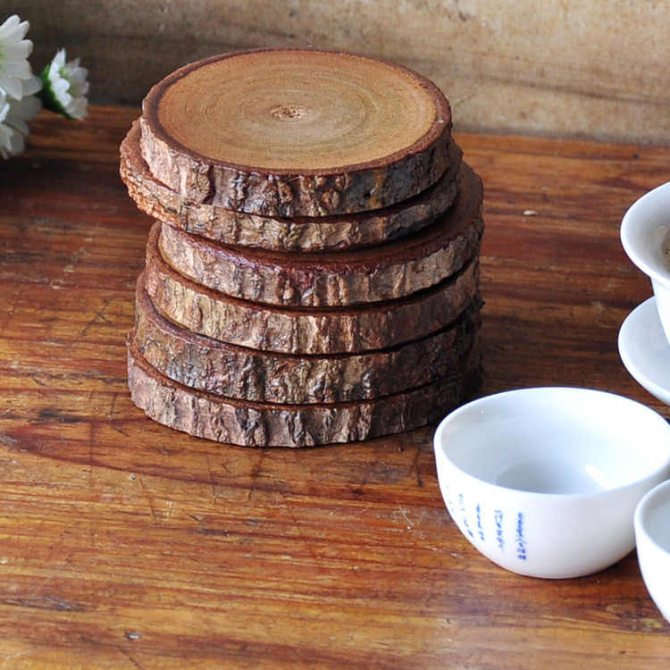 Natural Log Coaster Round Bar Hotel Cork Insulation Cup Coaster Coffee Cup Pad 4 Pack