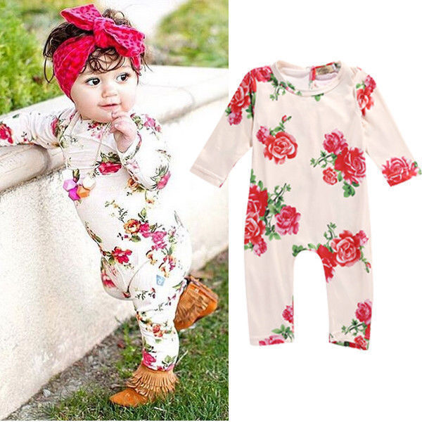 0-2Y Newborn Kids Baby Girls Clothing Infant   Romper   Jumpsuit Long Sleeve Flower Clothes Outfit Set