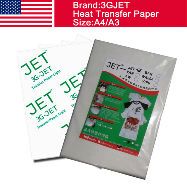 US $119 8 |100% USA 3GJET light color heat press paper t shirts inkjet heat  transfer paper A3-in Wallpapers from Home Improvement on Aliexpress com |