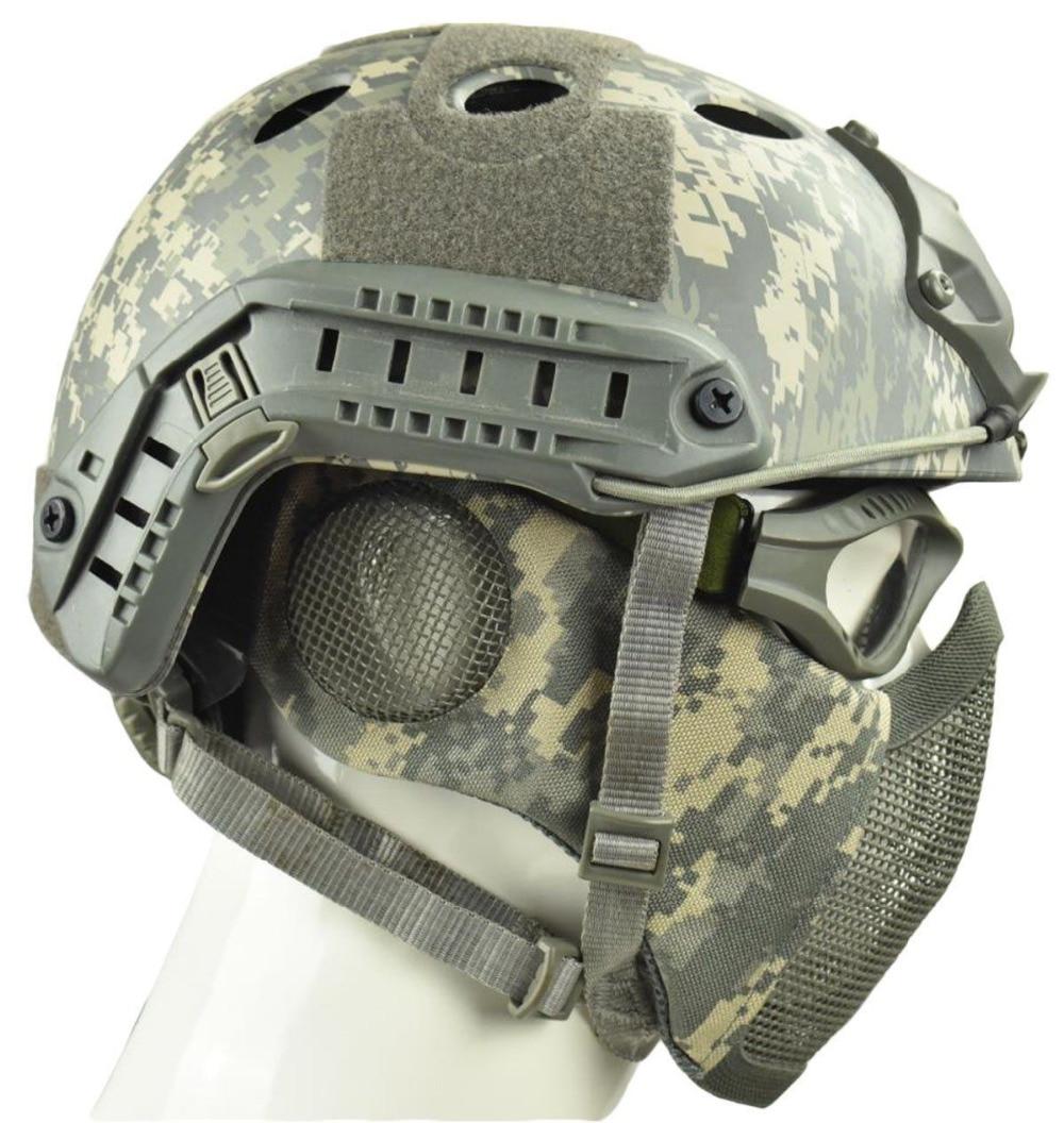 Airsoft CS Game Mask Tactical Mesh Half Face Mask With Ear Protection TMC2723 KK