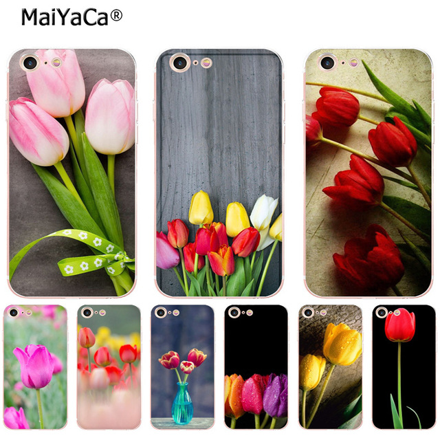 huge discount 1c680 50896 US $1.32 49% OFF|MaiYaCa pink yellow red tulip flowers soft tpu phone case  cover for Apple iPhone 8 7 6 6S Plus X 5 5S SE 5C 4 4S case funda-in ...