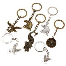 цены Vintage Keychain Car Key Chain Ring Holder Bird Animal Key Pendant Creative Handmade Gift For Boyfriend