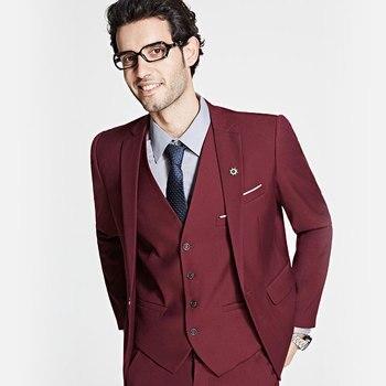 Custom Made New Arrival Groom Tuxedos Business Dress Formal Blazer Set Slim Fit Social Wedding Suit (Jacket+Pants+Vest)