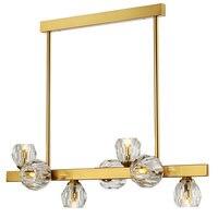 Post modern Foyer Light luxury Chandeliers Real brass Gold body 7/9/11 heads Crystal droplight LED G4 bulb Lighting fixture