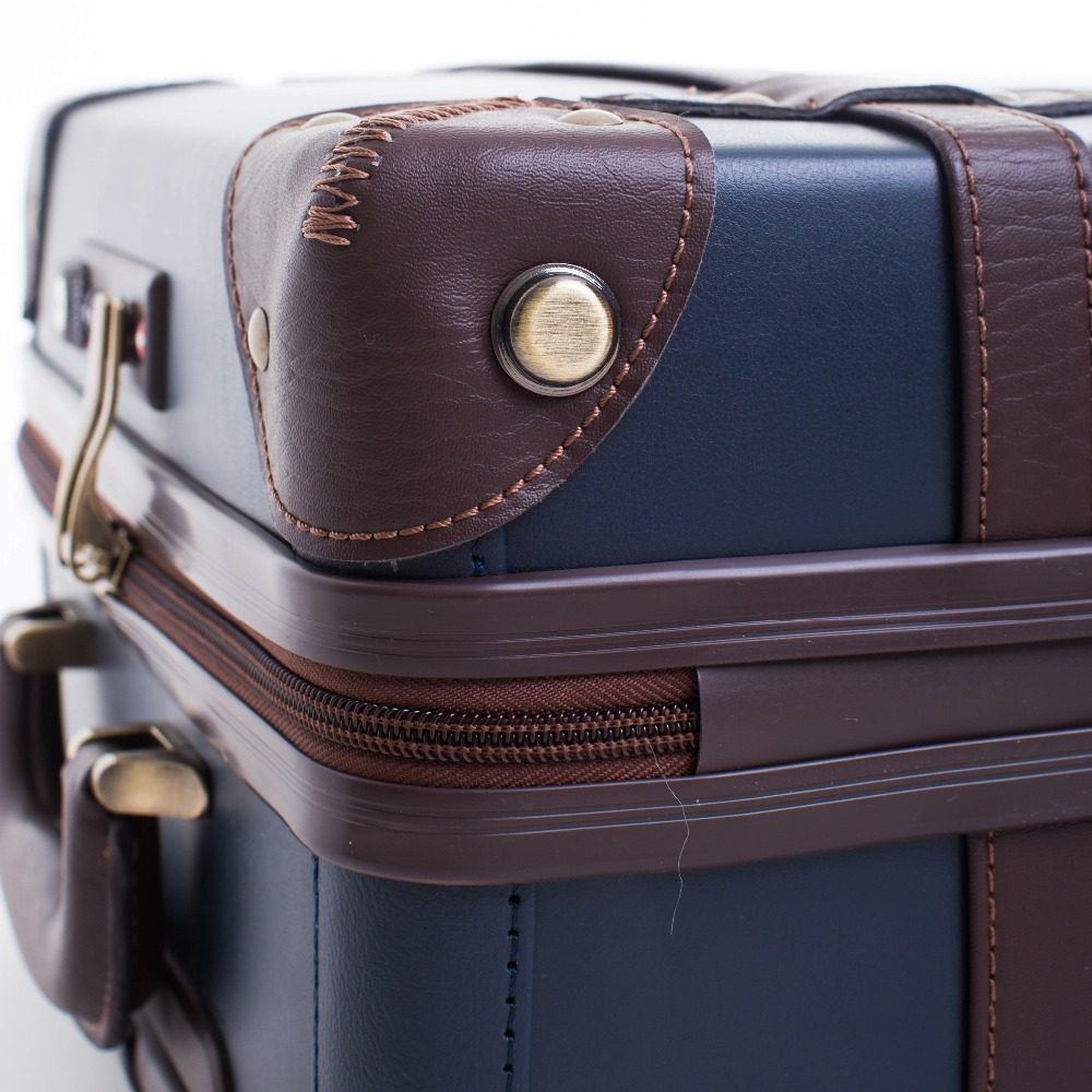 Large Caracity PU Leather Hardside Luggage Vintage Trolly Suitcase Travel Suitcase,Scratch Resistant Rolling Luggage Bags
