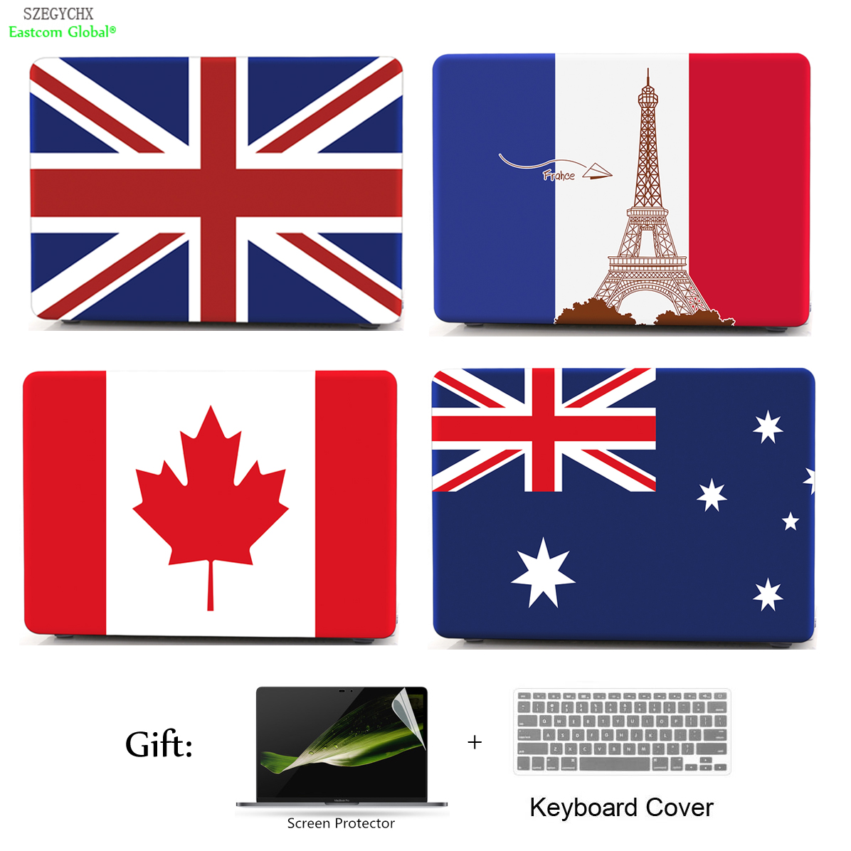 SZEGYCHX US UK CA FR AU CN Flag Hard Sleeve Shell Case For Macbook Air Pro Retina 11 12 13 15 13.3 inch with Touch Bar Laptop