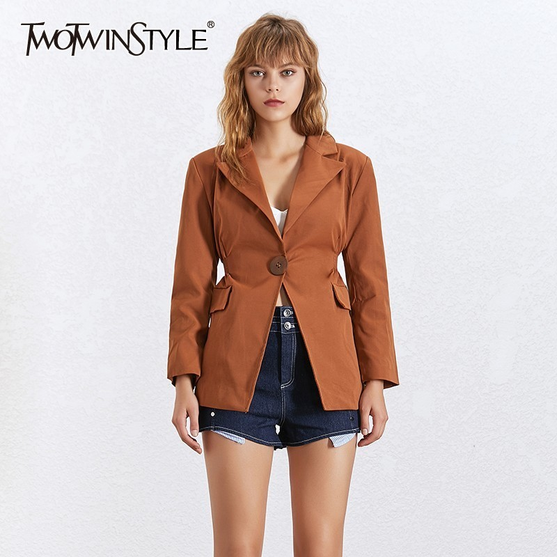 TWOTWINSTYLE Summer Solid OL Blazer Coat Female Notched Collar Long Sleeve Button Coat For Women Fashion New Clothes 2020