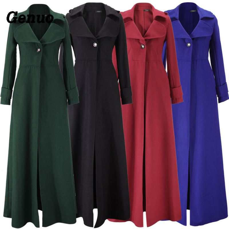 Genuo Women Wool Coat Autumn Winter Cassic Wool Blend Maxi Long   Trench   Coat Female Slim Windbreaker Outerwear Overcoats Dress