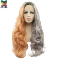 HAIR SW Long Wavy Half Grey Half Orange Ombre Synthetic Lace Front Wig With Dark Roots Glueless Women Wig For Darg Queen / Party