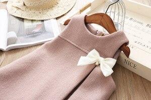 Image 2 - Vestidos de moda para niña, vestido de fiesta sin mangas con lazo de lana para niña 2 3 4 5 6 años, vestido de princesa para bebé niño niña, ropa de invierno