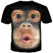 Cloudstyle 3D Animal Tshirt Male Funny Monkey Gorilla Tee Shirt Unisex Short Sleeve Harajuku Streetwear T Men Summer Tops