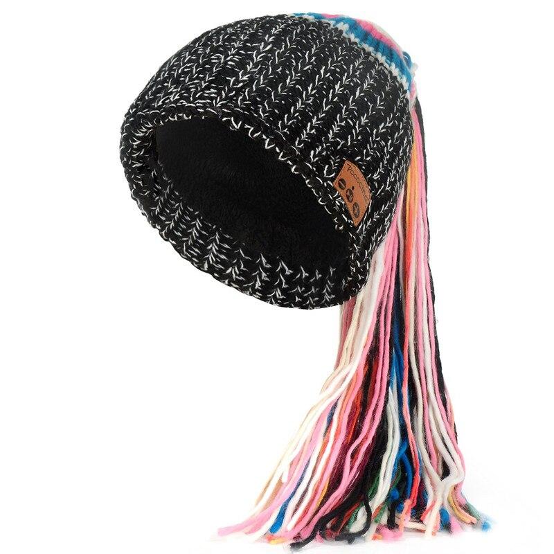 Bluetooth Beanie шляпа с перезаряжаемой унисекс беспроводной Beanies панель управления съемные стерео наушники шерсть вязать музыкальное бини - Цвет: Black with tassel