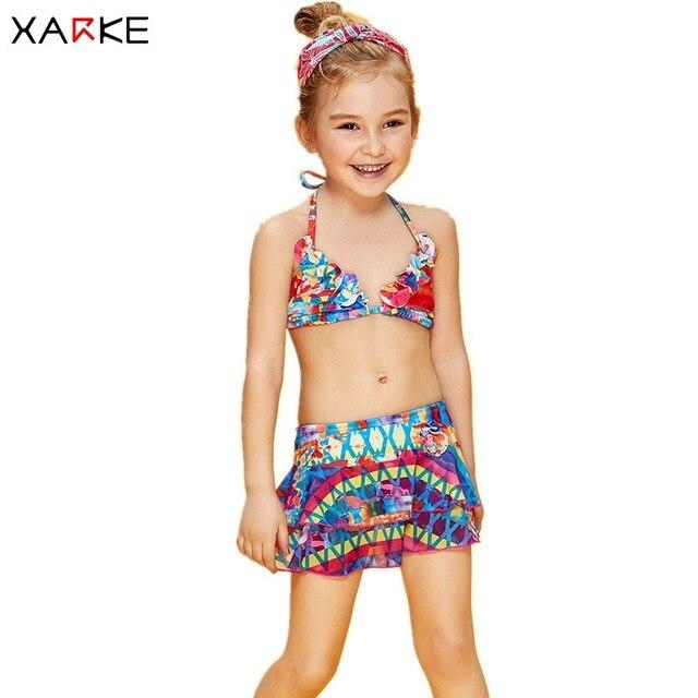 db37a37f5a637 XARKE Girls Bikini Skirt Swimsuit for Girls Halter Strap Bikinis Cute  Children Swimming Suit Pool Beach Kids Swimwear 3-12T