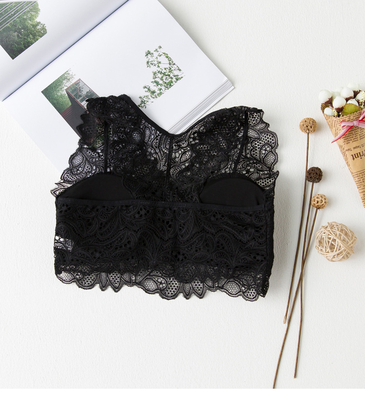 Black White Solid Lace Floral Camisoles Tube Top Tanks -6035