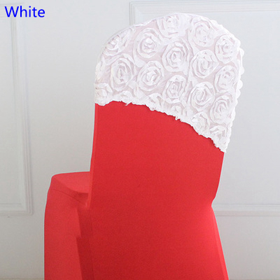 White colour embroider rosette satin chair sash wedding decoration chair covers hood lycra band fit all chairs wholesale