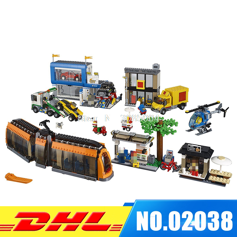 IN Stock LEPIN 02038 1767 PCS City Town City Square 60097 Building Toy Construction Set Model Building Kits Blocks Girl Gift dhl lepin city series 02020 police station 02038 city square educational building blocks bricks model toys 60141 60097