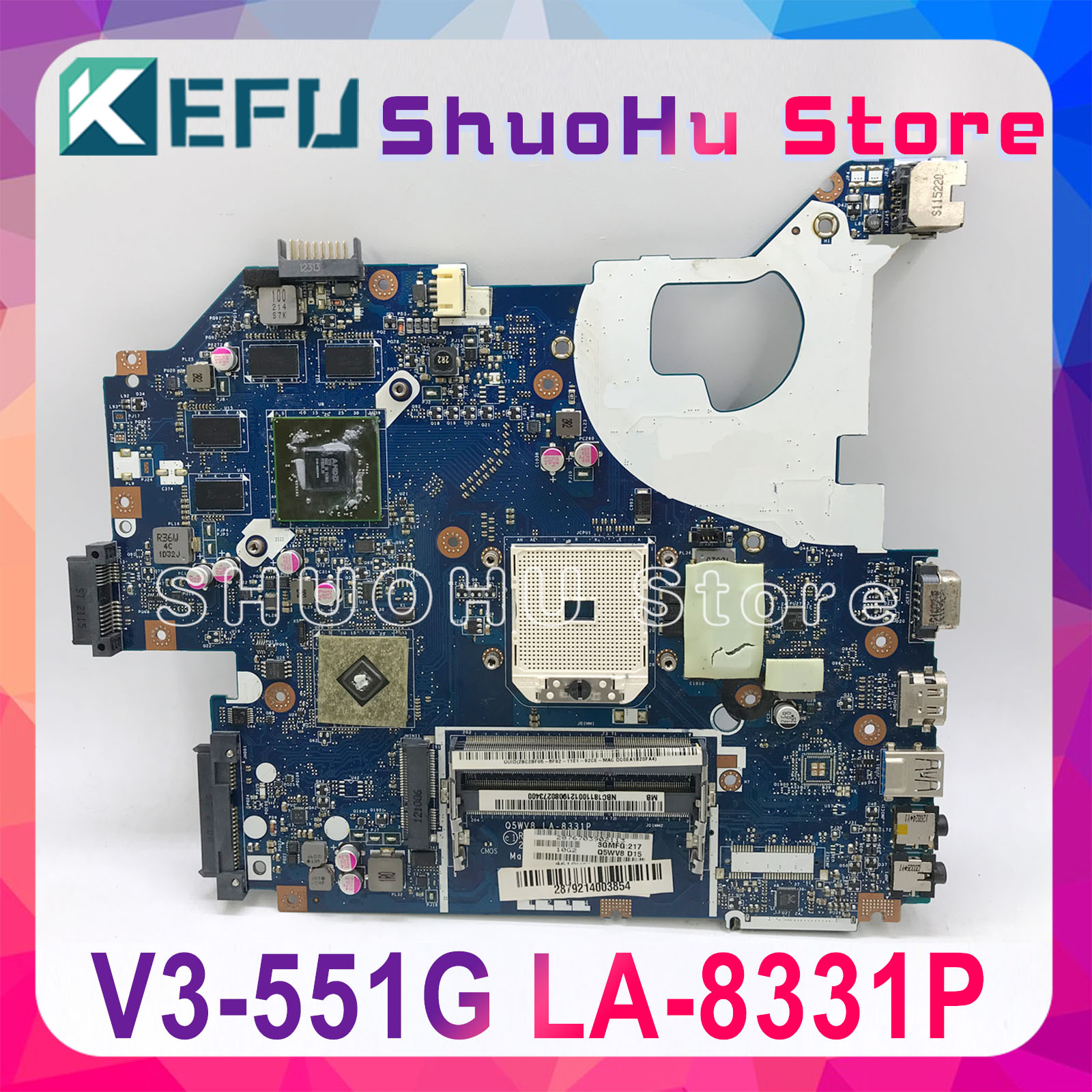 KEFU NBC1811001 Q5WV8 LA-8331P motherboard For acer aspire V3-551G V3-551 laptop motherboard DDR3 Radeon <font><b>HD</b></font> <font><b>7670M</b></font> original test image
