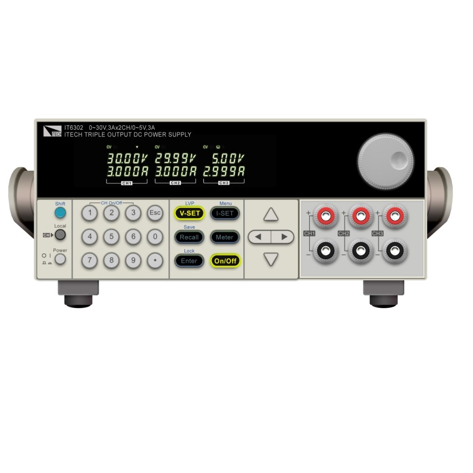 ITECH IT6302 adaptateur d'alimentation 3 canaux Programmable DC alimentation à découpage 30 V/3A/90 W * 2CH et 5 V/3A/15 W * 1CH