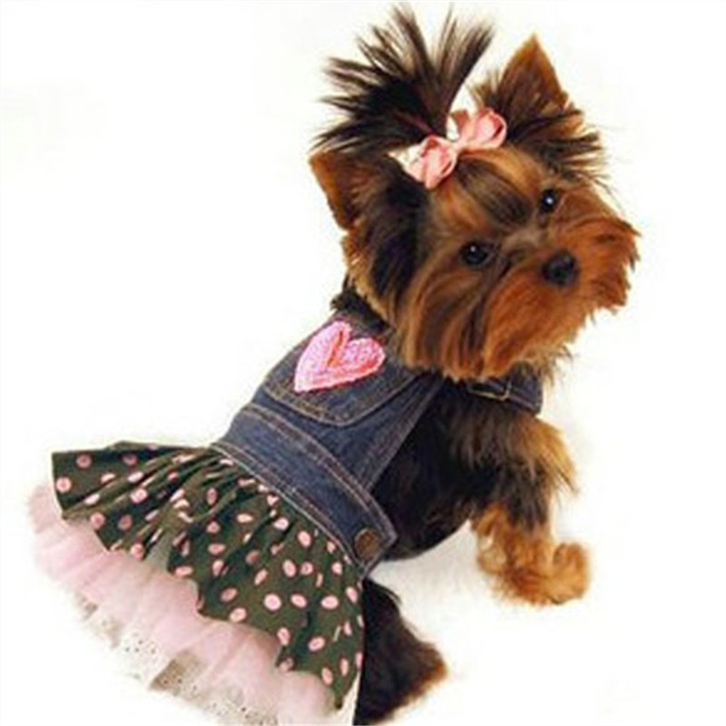 Dog Denim Dress Jeans Skirt Summer Small Dog Dress Puppy Clothes Chihuahua Yorkies Poodle Pet Clothing