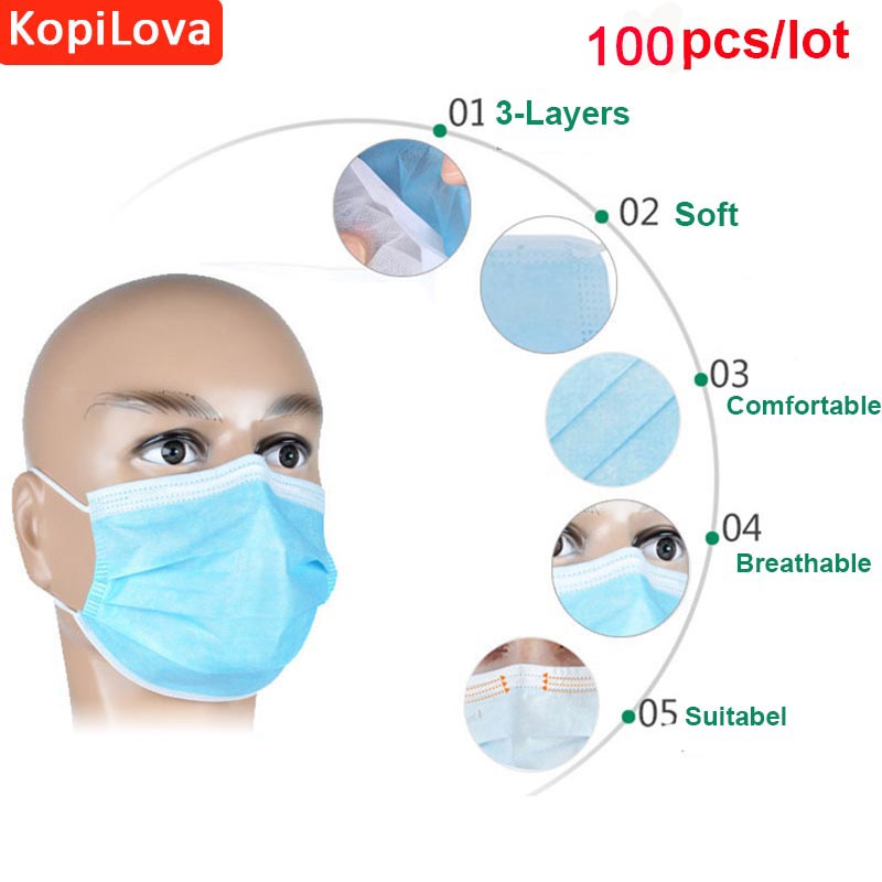 KopiLova 100pcs/lot Blue Surgical Disposable Face Mask 3 Layer Dental Medical Anti-dust Mouth Mask Surgical Respirator orthodontic reverse pull fact mask dental headgear orthodontic face mask adjustable face mask