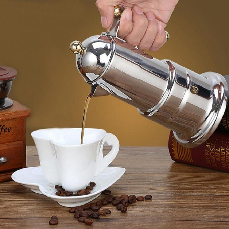 200ml Stainless Steel Coffee Pot Moka Coffee Maker Teapot Mocha Stovetop Filter Percolator Cafetiere Percolator Pot