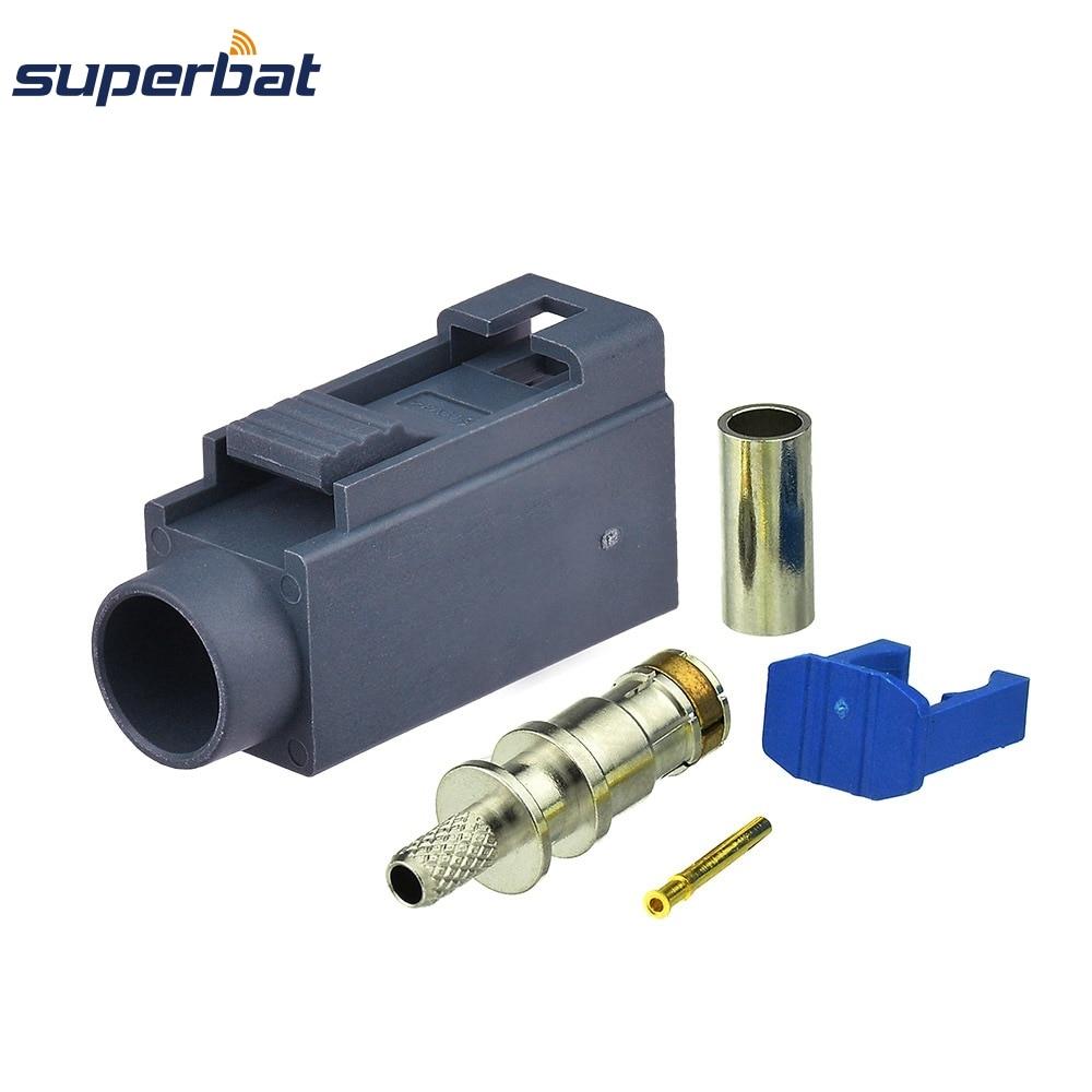 Superbat Car Radio Antenna Connector Fakra G Grey/7031 Remote Control Keyless Entry Crimp For RG316 RG174 LMR100 Cable 10PCS