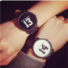 DURABLE Fashion Lovers Men Women Hot Selling Quartz Analog Faux Black Leather Band Wrist Watch with Number 13 and 14