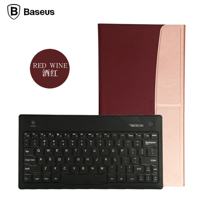 BASEUS Ultra-thin Slim Bluetooth Keyboard with Leather Case Cover Univeral for iPad Air mini 2 3 for Samsung Android Pads Tablet