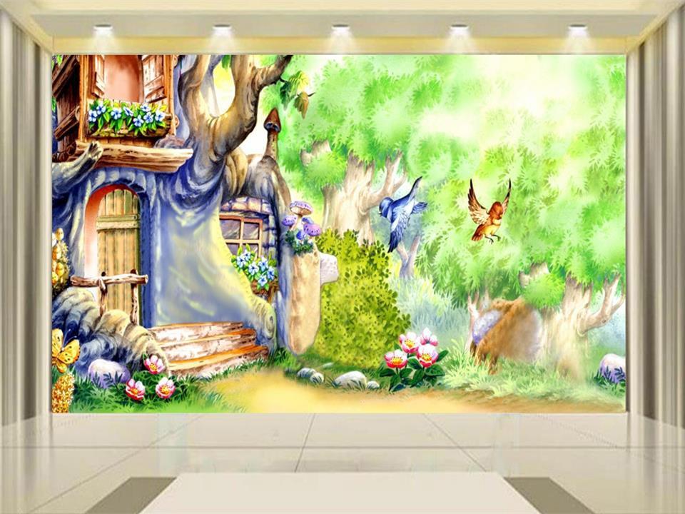 цены 3d wallpaper photo wallpaper custom kids mural livingroom magic garden fairies painting backdrop non-woven wallpaper for wall 3d