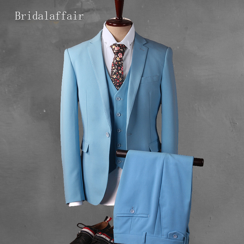 Bridalaffair Sky Blue Groom Tuxedo Men\'s Wedding Prom Suits Set ...