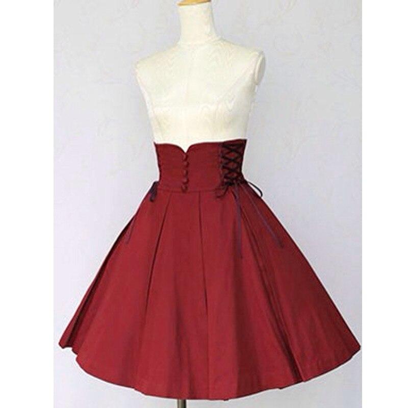 Haute qualité filles femmes coton Slim-coupe Empire taille gothique Lolita jupe