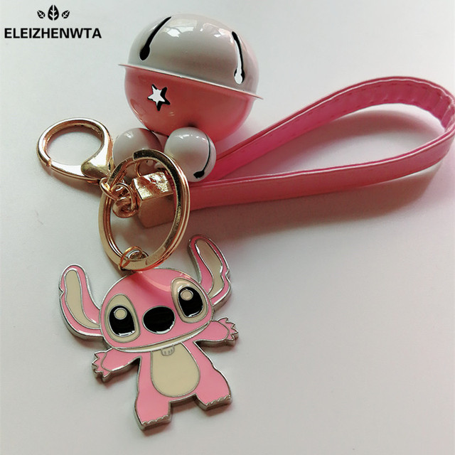 Chaveiro llavero Toy Cartoon Movie Alloy Pink Stitch Bell Keychain Leather  Key Ring Women Bag Charms Key Holder Porte Clef Gift 02199748e