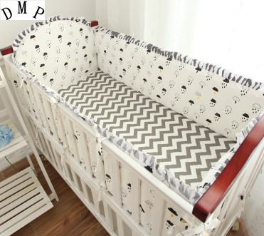 Promotion! 5PCS Cartoon Baby Bedding Set 100% Cotton Curtain Crib Bumper Baby Cotton Sets (4bumpers+sheet)