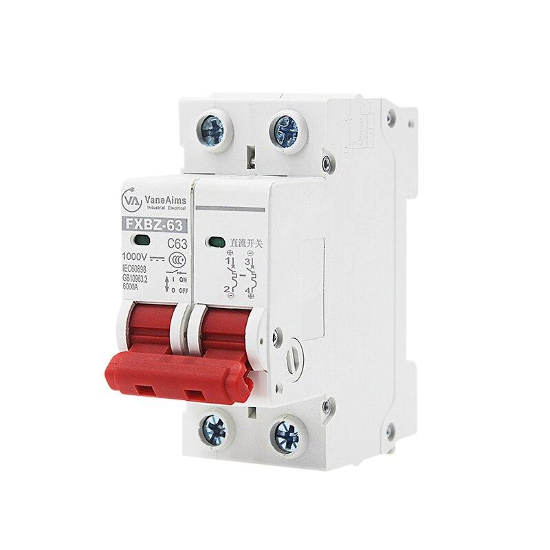 2 p DC 1000 v Solar Mini Circuit Breaker 6A/10A/16A/20A/25A/32A /40A/50A/63A DC MCB