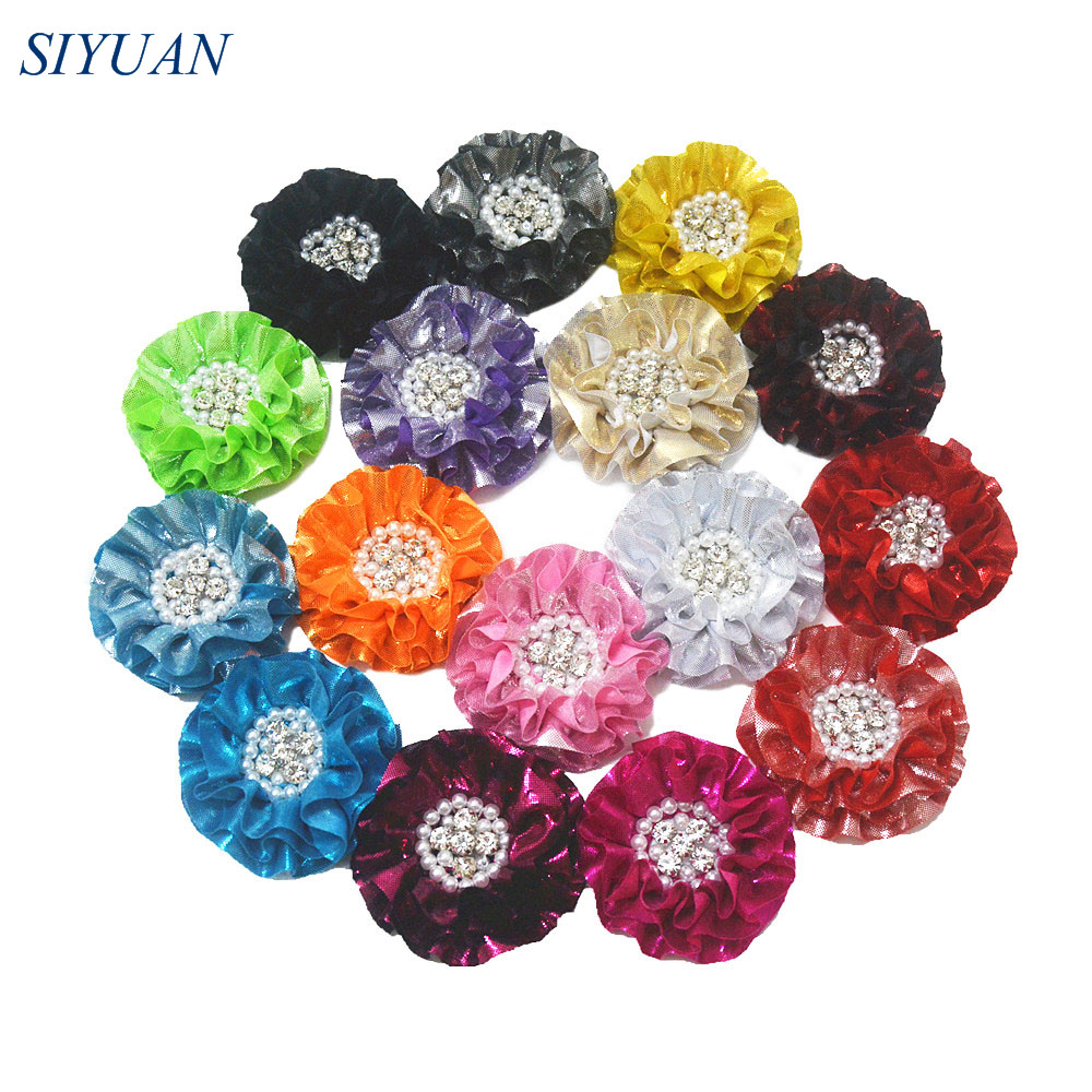 60pcs lot Girl 3 2 Large Metallic Fabric Flower Rhinestone Centered Hair Accessories Apparel Dress Ornament
