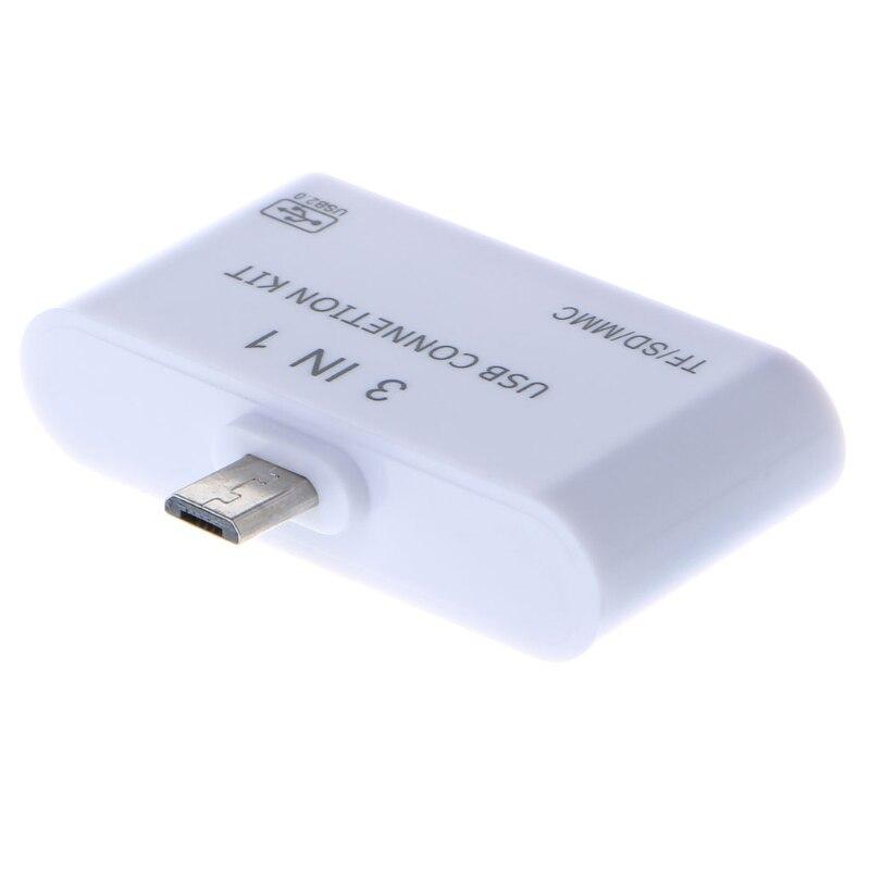 3 в 1 OTG Micro USB 2,0 SD/TF/MMC Card Reader зарядка через usb адаптер для samsung