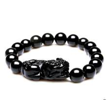 ZCD 1216+++Natural Obsidian Bracelet brave lucky Bracelet(China)