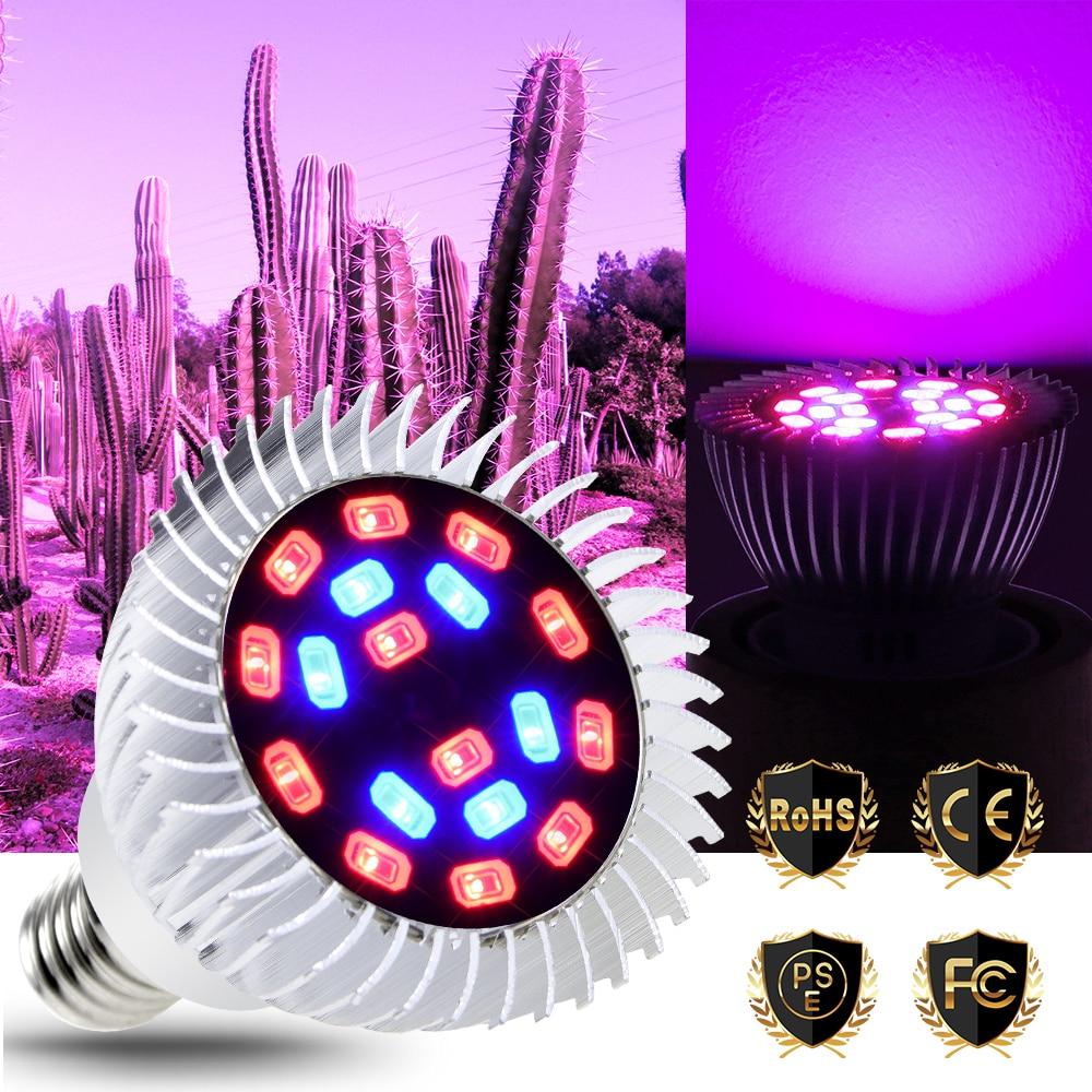 Full Spectrum E27 LED Grow Light Bulb E14 Aluminum AC 85-265V Red Blue UV IR Led Phyto Lamp 20W 5730 Plants Greenhouse Grow Tent