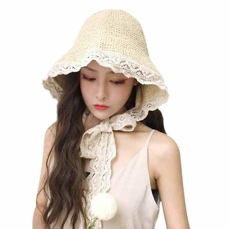 2019 แฟชั่นฤดูร้อนของผู้หญิงหมวกเจ้าหญิงฟางสายบังแดดหมวกชายหาดหมวกผู้หญิง