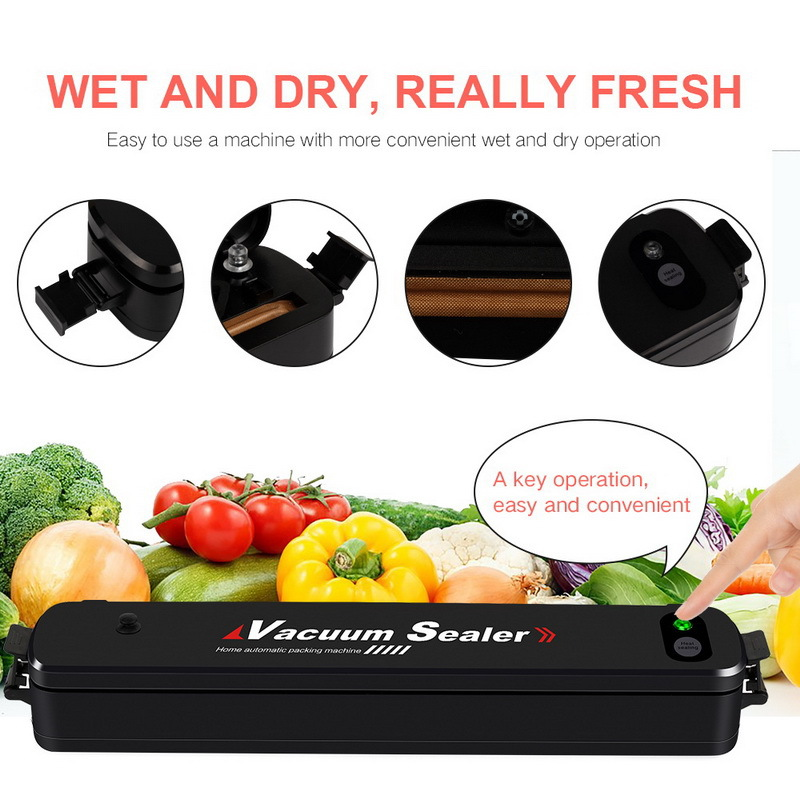 220V/110V Household Multi-function Best Food Vacuum Sealer Saver Automatic Vacuum Sealing Packer Plastic Packing Machine Bags